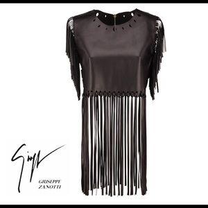 giuseppe zanotti • NEW • leather fringe top